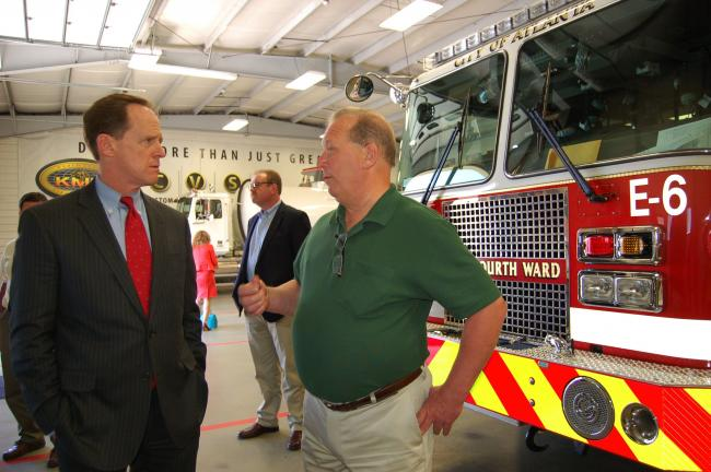 Gail Maholick/TIMES NEWS U.S. Senator Pat Toomey (R-Pa.), left, speaks with John Kovatch III, CEO and president of KME Kovatch, Nesquehoning.
