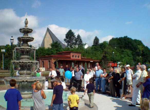 The John E. Morgan Memorial Fountain was unveiled at Tamaqua's Depot Square Park, August, 2002, one year after the industrialist's passing.