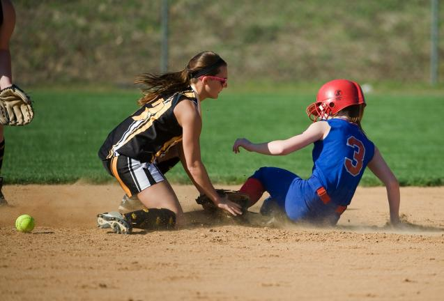 bob ford/times news Jim Thorpe's Talia Valentini slides safely into second base as the ball gets away from Panther Valley's Jessica Bauder.