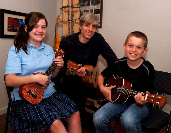 AL ZAGOFSKY/SPECIAL TO THE TIMES NEWS Practicing for the Rockin Robin concert to support the Carbon County Environmental Education Center are: Emily, Nick and Elliott Roberti. Nick runs the Ukulele Institute, and Emily is his niece and Elliott is…