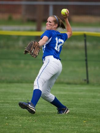 bob ford/times news Pleasant Valley's Kiersten Greisback steps into a throw from the outfield.