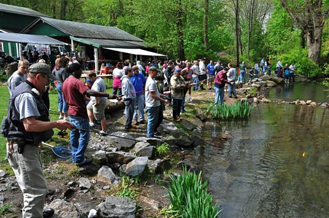 VICTOR IZZO/SPECIAL TO THE TIMES NEWS  Students, aides, and volunteer helpers line the stream under beautiful skies during the 59th annual Germantown Grove Club Fishing Derby for Special Needs students from schools all over Carbon County.