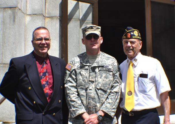 DONALD R. SERFASS/TIMES NEWS Principals in the Sky-View Memorial Park memorial service on Monday were, from left: Chaplain LTC. James Greaser, Sgt. Brian Dasch and veteran Dale D. Kline.