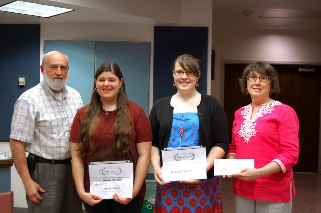 LINDA KOEHLER/TIMES NEWS The Chestnuthill Township 250th Anniversary committee recognized the Pleasant Valley High School winners of the student 250th Anniversary Logo Contest at the May 23 PVSD school board meeting. Presenting the monetary awards…