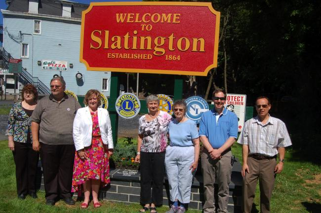 TERRY AHNER/TIMES NEWS Among those who attended a news conference for the Gateway Improvement Project in Slatington were, l-r, Carol Kern, Woman's Club of Slatington, Dale Freudenberger, Anthracite Regional Coordinator, Delaware & Lehigh National…