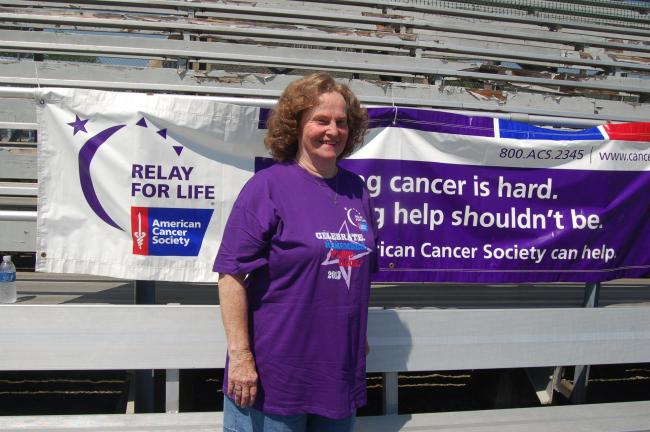 TERRY AHNER/TIMES NEWS Doreen Roth, 77, of Mahoning Valley, was among the cancer survivors who participated in the 12th annual Relay For Life of Lower Carbon County and Surrounding Areas.