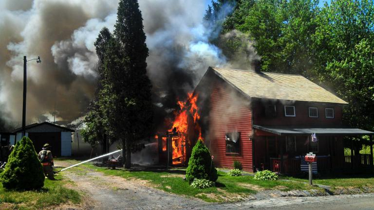 DAVID ONDER/SPECIAL TO THE TIMES NEWS An electrical problem was deemed the cause of the fire that caused major damage to a home at Eckley's Miners Village.
