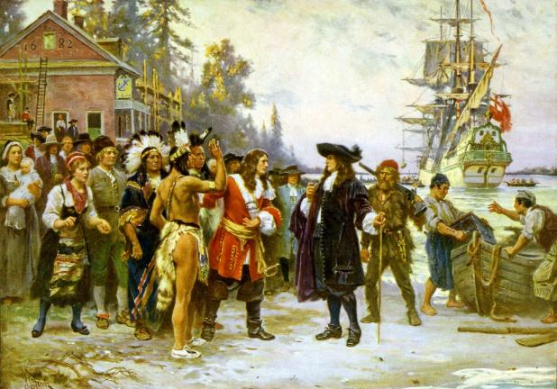 (Courtesy: The Library of Congress) The Landing of William Penn by Jean Leon Gerome Ferris. William Penn spent less than a total of three years in the province of Pennsylvania, was sued, placed in debtor's prison, died penniless, and with a…