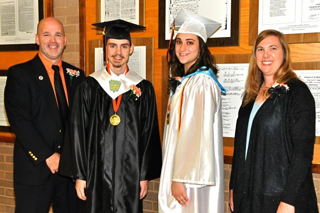 VICTOR IZZO/SPECIAL TO THE TIMES NEWS Preparing for the graduation ceremony for the Weatherly Area High School Class of 2013 are, left to right, Thomas McLaughlin superintendent of the Weatherly Area School District, valedictorian Michael Embick,…
