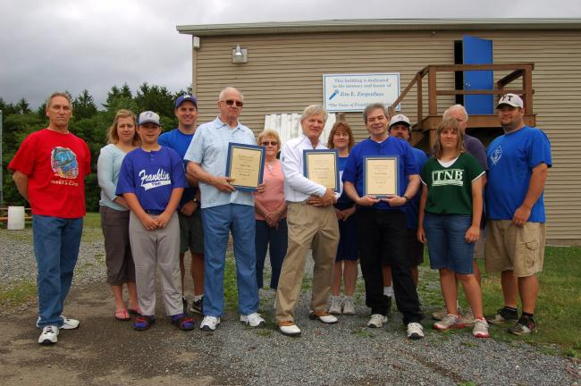 Gail Maholick/TIMES NEWS Franklin Township Little League thanked several members of the community for their support. From left are, Bob Strohl; Jan Wentz; Logan Wentz; Ryan Wentz, president of the Franklin Township Athletic Association; Carlos Teets…