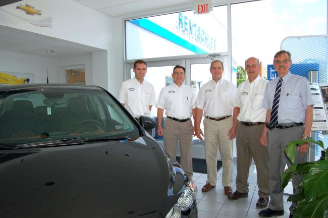 Gail Maholick/TIMES NEWS Rentschler dealerships, Route 873, Slatington, recently celebrated its 40th year of business. From left are, Greg Rentschler, Rick Rentschler, John Kleintop, general manager of Rentschler Chrysler Jeep Dodge Ram; Charles…