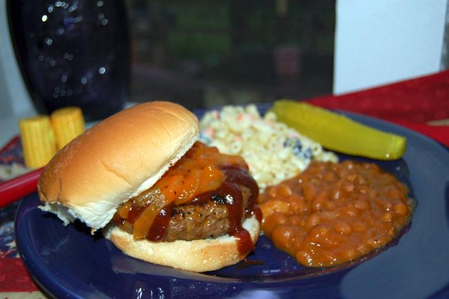 KAREN CIMMS/TIMES NEWS Barbecue Burgers spice up that plain, old everyday burger. Top them with Barbecued Onions and your favorite barbecue sauce for a tasty alternative to Plain Jane burgers.