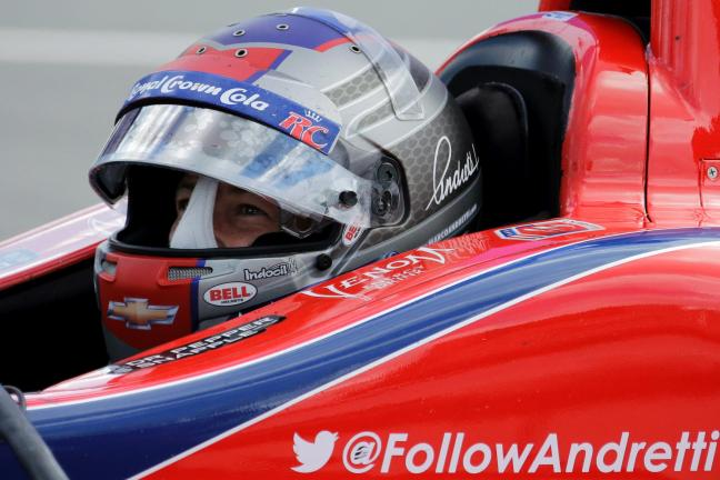 ap photo Marco Andretti waits in his car during a test session for Sunday's Pocono IndyCar 400 auto race