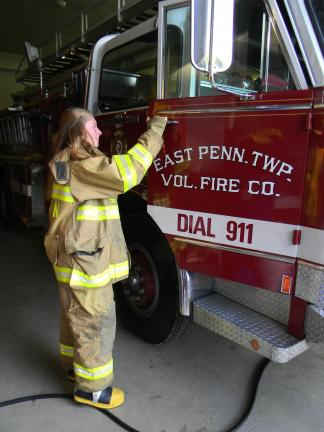Lisa PRice/Special to the Times News Melissa Boerner is in the junior firefighter program in the East Penn Volunteer Fire Department.