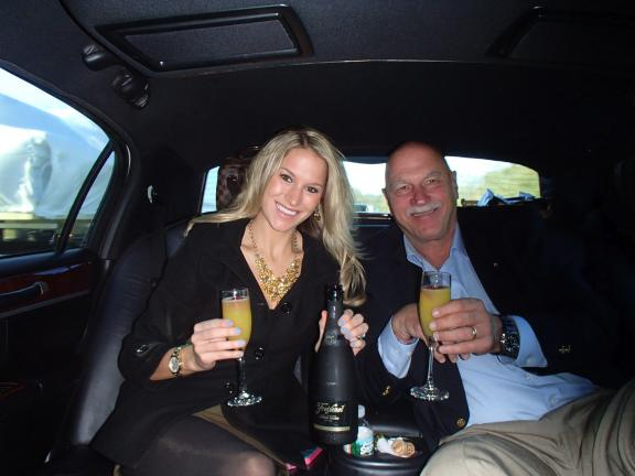 SPECIAL TO THE TIMES NEWS Dana Stellar and her dad, Tony, in the limo on the way to Kleinfeld Bridal, New York City.