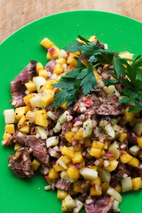 AP Photo/Matthew Mead Chili Mango-Beef Salad is a kid-friendly dinner salad that will please the entire family.