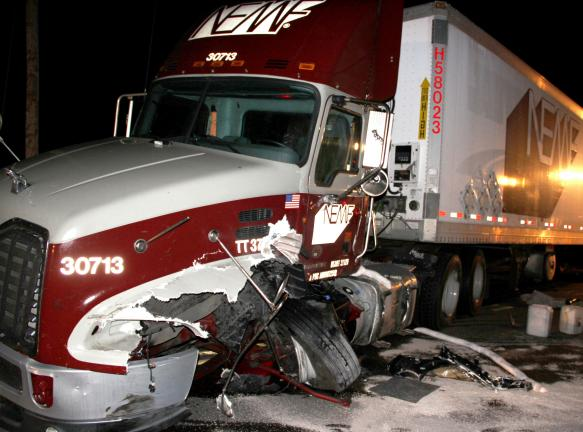 ANDREW LEIBENGUTH/TIMES NEWS The tractor trailer driver, Ernest Baehr of Jim Thorpe, escaped serious injuries during a three-vehicle accident on Route 895 in East Brunswick Township.