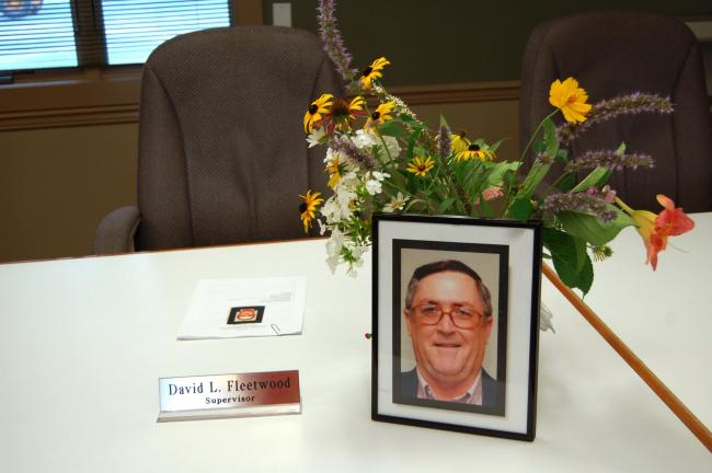 LINDA KOEHLER The supervisors and staff of Chestnuthill Township paid tribute to their fallen friend and colleague, Supervisor Vice-Chairman David Fleetwood at last night's supervisors' meeting.