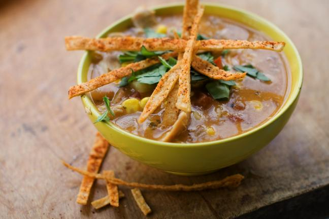 Southwestern Corn and Chicken Chowder with Tortilla Crisps is a delicious late summer soup.