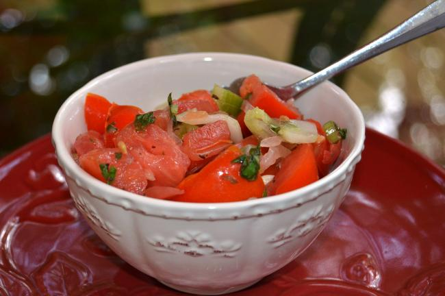 KAREN CIMMS/TIMES NEWS Tomato Salad is best when made with fresh ingredients, including local tomatoes. It's the taste of summer in a dish.