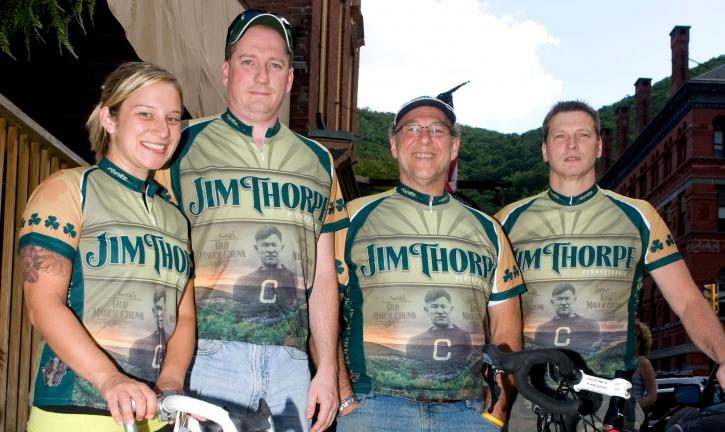 Bob Ford/TIMES NEWS Veteran Tour de Shore riders, Mary Seelig, Mike Dugan, Ammon Hontz and Todd Truskey.