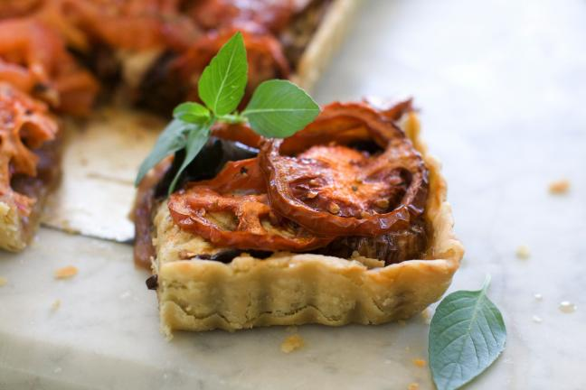 Caramelized Onion, Eggplant and heirloom tomato tart.
