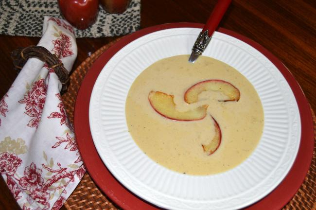 KAREN CIMMS/TIMES NEWS Autumn Apple Cheese Soup garnished with Sauteéd Apple Slices.
