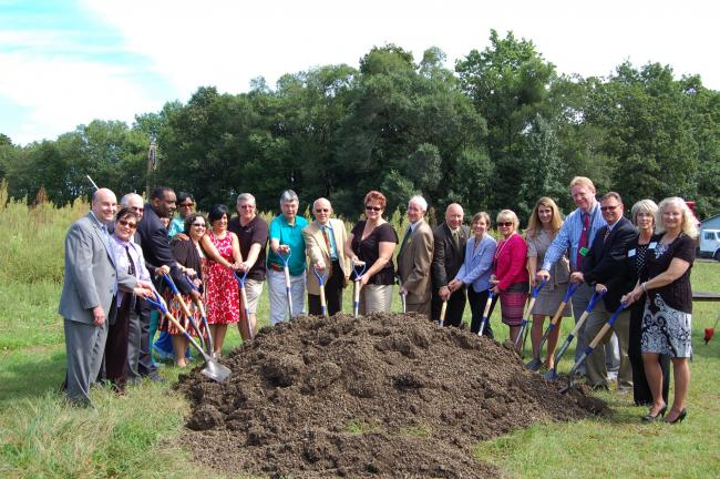LINDA KOEHLER/TIMES NEWS Several members of Pocono Health System, ESSA Bank & Trust and the community hefted a shovel at the groundbreaking for the new West End Healthcare Center. They are, left to right: Dr Jonathan Goldner; Linda Salas Mamary; Dr…