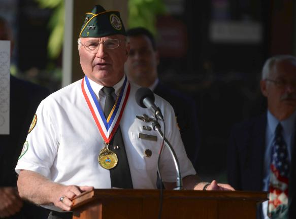 BOB FORD/TIMES NEWS Air Force Reserve Maj. Gen (Ret.) Jay Barry speaks at a Patriot's Day ceremony in Jim Thorpe Wednesday.
