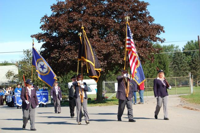 LINDA KOEHLER/TIMES NEWS The color guard of the American Legion Post 927 of Gilbert led the Chestnuthill Township 250th Anniversary parade.