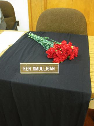 LIZ PINKEY/SPECIAL TO THE TIMES NEWS Tamaqua Borough Council honored the memory of Councilman Ken Smulligan, who passed away unexpectedly last week. Fellow councilman Tom Cara opened the meeting with a brief tribute in prayer to Smulligan. Smulligan…