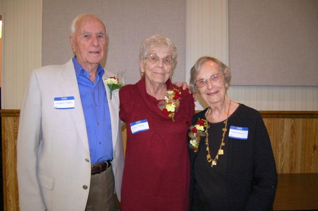 Gail Maholick/TIMES NEWS Mr. and Mrs. Norbert Sander, left, and Martha Ronemus, were honorees at the Bowmanstown School Reunion. The Sanders recently celebrated their 70th wedding anniversary. Ronemus taught at the school.