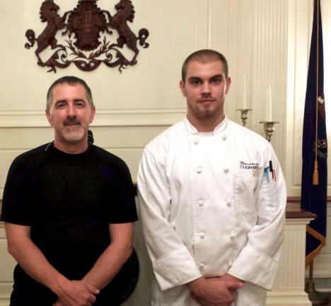SPECIAL TO THE TIMES NEWS Nolan Linaberry, right, a Lehighton Area High School graduate, stands with Barry Crumlich, executive chef at the Capitol in Harrisburg.