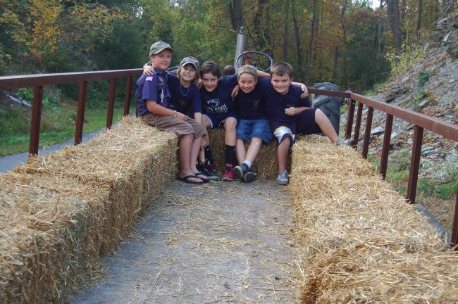 TERRY AHNER/TIMES NEWS Members of Cub Scout Pack 58 of Slatedale shown ready to depart on a hay wagon ride include (clockwise) Quinn Deinning, 9, Robert Schramel, 10, Bryce Allen, 11, Cole Hausman, 9, and David Neff, 8.