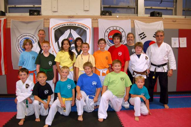 Gail Maholick/TIMES NEWS Among the students at Mountain Karate Academy taking part in the Kick - A - Thon for Dream Come True - Blue Ridge Chapter are, front l-r, Levi Monk, Andrew Diehl, AJ Noble, Evan Gower, Ryan Smith, Ayden Hand; second row l-r,…