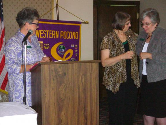 ADELE R. ARGOT/SPECIAL TO THE TIMES NEWS Mary Ann Lalumia, right, was recognized with the annual Sisterhood Award at the Western Pocono Lioness Club's Fashion Show held at the Hideaway Hills Golf Club in Kresgeville. The award was announced by club…