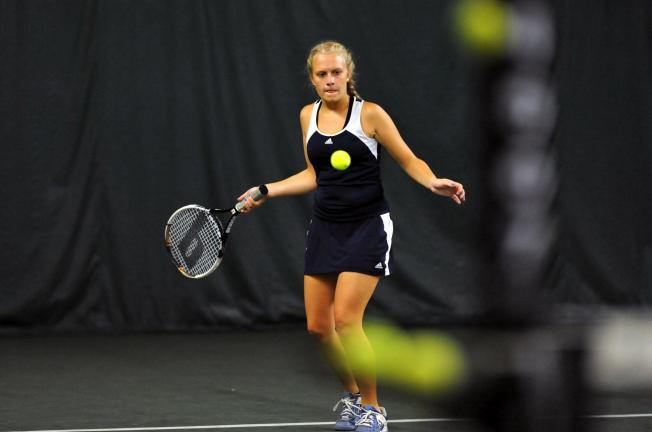 nancy scholz/special to the times news Tamaqua's Beth Kistler prepares to return the ball during the District 11 Class AA doubles tournament.