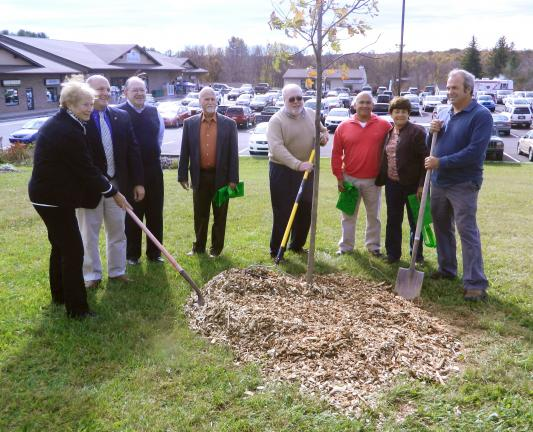 JUDITH DOLGOS-KRAMER/SPECIAL TO THE TIMES NEWS Posing around a newly-planted red oak tree are, from left, Kidder Township Supervisor Mary Farnschlader, state Rep. Doyle Heffley, township Chairman Larry Polansky, Supervisor Robert Lengal, Supervisor…