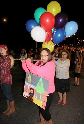 "ANDREW LEIBENGUTH/TIME NEWS Tamaqua Raider Band member Francesca Gerace, 17, chose to dress as a balloon-lifted house from the movie ""Up."""