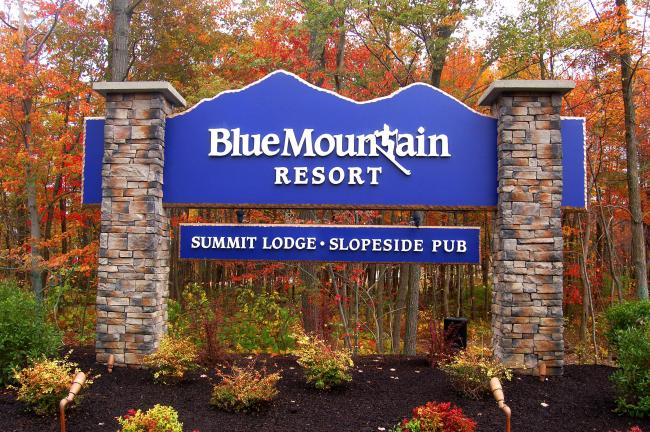 TERRY AHNER/TIMES NEWS This sign now greets visitors as they traverse the new entrance to Blue Mountain Resort.