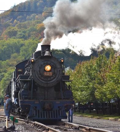 DONALD R. SERFASS/TIMES NEWS  The 1928 Baldwin #425 steam engine, seen here in Tamaqua Oct. 14, will be used for special steam excursion from the borough in early December, the first such event in 17 years.