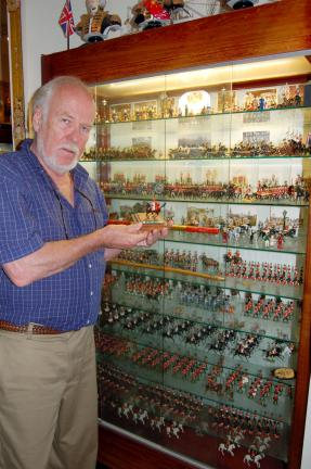 LINDA KOEHLER/TIMES NEWS Jim Hillestad began collecting toy soldiers at the age of 10. This display case in his Toy Soldier Museum in Cresco, houses the first 600 pieces he collected by the time he graduated from high school.