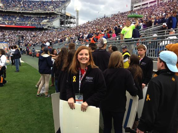 SPECIAL TO THE TIMES NEWS Janine Patton on the sidelines at Saturday's Penn State game against Illinois.