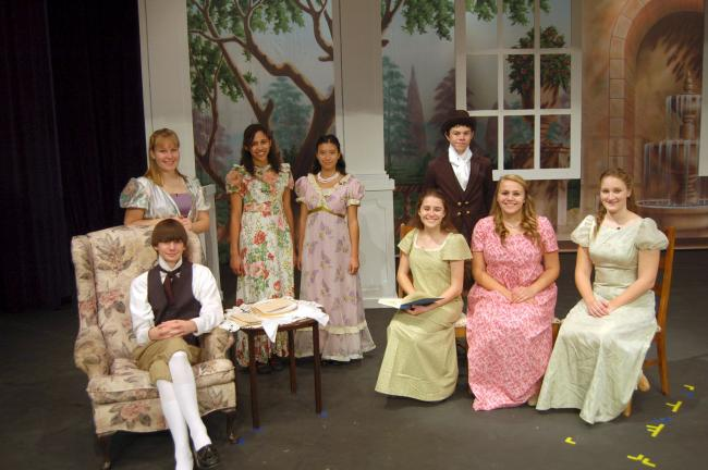 "LINDA KOEHLER/TIMES NEWS Appearing in the Pleasant Valley High School production of ""Pride and Prejudice"" are, standing, from left, Lydia Shank (Mrs. Bennet), Hailey Blanding (Lydia Bennet), Angelica Ramirez (Kitty Bennet), Anthony Zarzycki (Mr…"