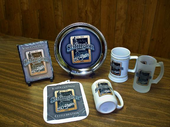 SPECIAL TO THE TIMES NEWS Some of the new collectible items presented to the Slatington 150th Planning Commission by Tri-County Team Wear, include, a 6-inch by 8-inch slate plaque, 10-inch silver plate, 22-ounce white stein with gold trim, 16-ounce…