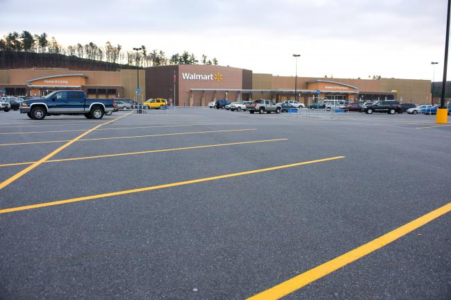 BOB FORD/TIMES NEWS There were plenty of parking spaces available around 8 o'clock this morning at Walmart in Mahoning Township.