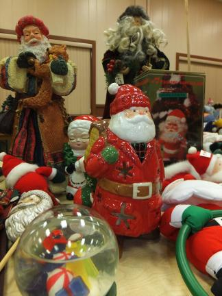 Stacey Solt/Special to the Times News Trinity Thrift Store's annual Christmas sale will include many low priced items appropriate for gifts, like these Santa decorations.