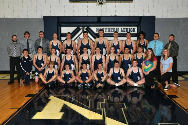 JOE SEREMULA/Special to THE TIMES NEWS The Northern Lehigh wrestling team for the 2013-14 season coached by Steve Hluschak Jr.