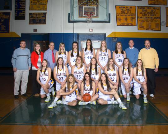 Special to the TIMES NEWS Members of the Marian girls basketball team for the 2013-14 season include, front row from left, Lindsay Nemeth, Emily Sofranko, Gabby Green; middle row, Vanessa Whitecavage, Monica Baranko, Brenna Karnish, Emily Fannick,…