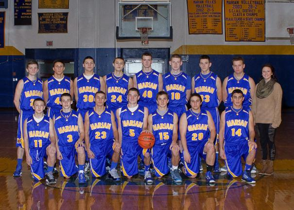 Special to the TIMES NEWS Members of the Marian boys basketball team for the 2013-14 season include, front row from left, John Woitko, Matt Karnish, Dominic Mussoline, Austin Paisley, Ethan Kuczynski, Christian Legath, Nico Agosti; back row, Patrick…
